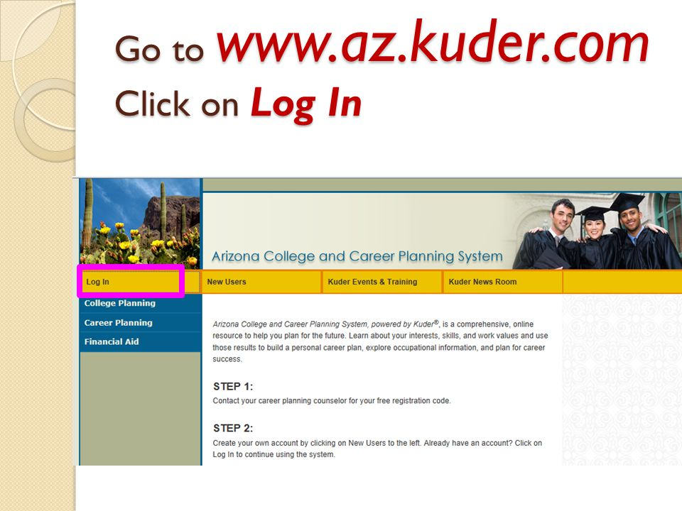 Go to www.az.kuder.com Click on Log In