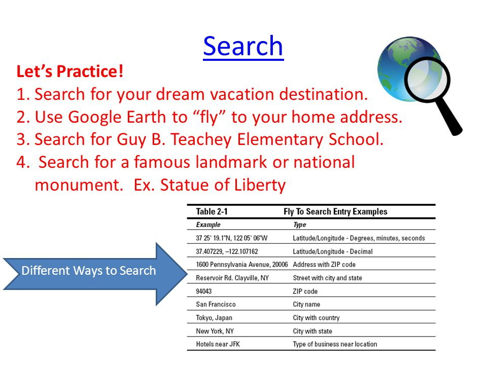 Search Let's Practice. 1.Search for your dream vacation destination.