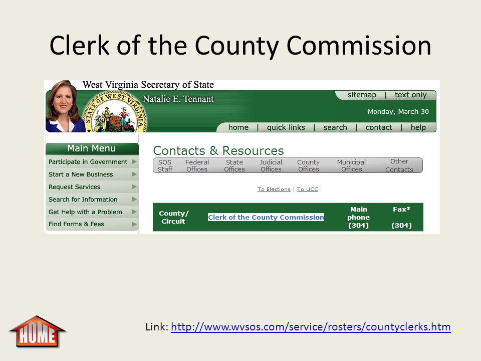 Clerk of the County Commission Link: http://www.wvsos.com/service/rosters/countyclerks.htmhttp://www.wvsos.com/service/rosters/countyclerks.htm