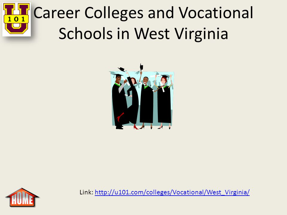 Career Colleges and Vocational Schools in West Virginia Link: http://u101.com/colleges/Vocational/West_Virginia/http://u101.com/colleges/Vocational/West_Virginia/