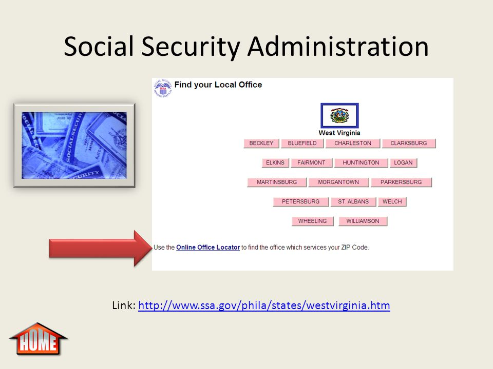 Social Security Administration Link: http://www.ssa.gov/phila/states/westvirginia.htmhttp://www.ssa.gov/phila/states/westvirginia.htm