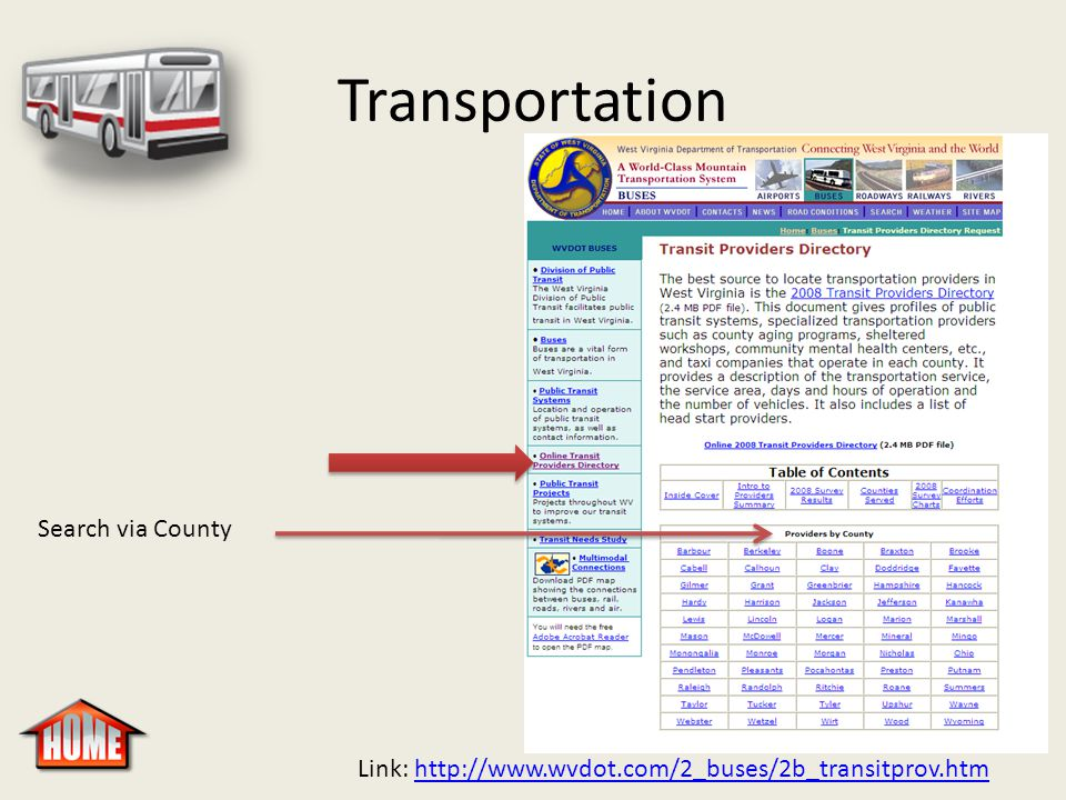 Transportation Link: http://www.wvdot.com/2_buses/2b_transitprov.htmhttp://www.wvdot.com/2_buses/2b_transitprov.htm Search via County