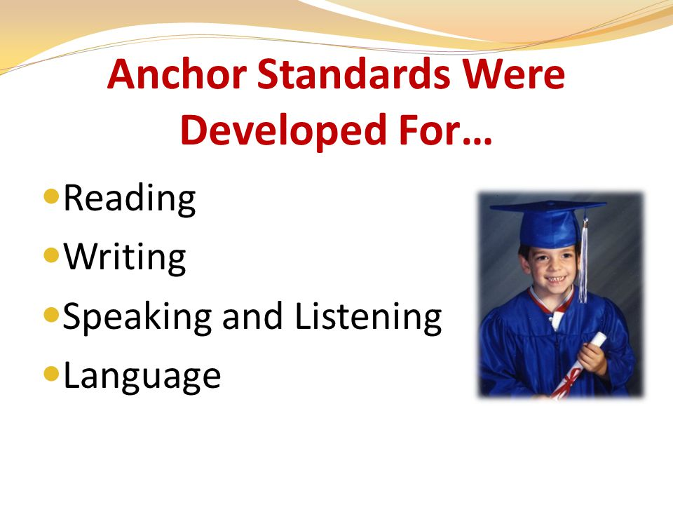 Anchor Standards Were Developed For… Reading Writing Speaking and Listening Language