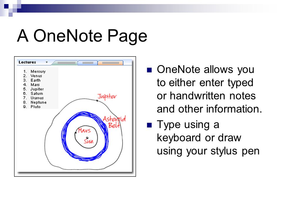 A OneNote Page OneNote allows you to either enter typed or handwritten notes and other information.