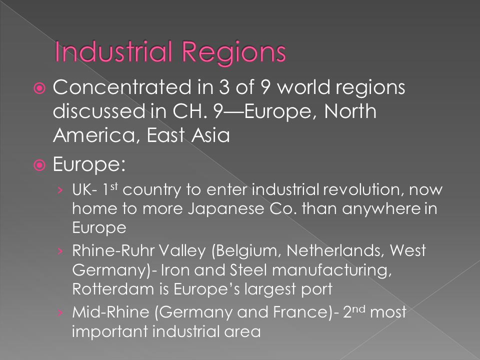  Concentrated in 3 of 9 world regions discussed in CH.