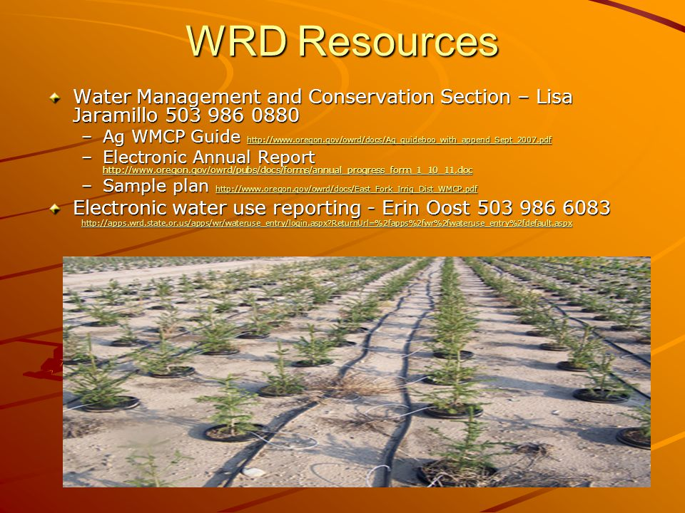 WRD Resources Water Management and Conservation Section – Lisa Jaramillo 503 986 0880 –Ag WMCP Guide http://www.oregon.gov/owrd/docs/Ag_guideboo_with_append_Sept_2007.pdf http://www.oregon.gov/owrd/docs/Ag_guideboo_with_append_Sept_2007.pdf –Electronic Annual Report http://www.oregon.gov/owrd/pubs/docs/forms/annual_progress_form_1_10_11.doc http://www.oregon.gov/owrd/pubs/docs/forms/annual_progress_form_1_10_11.doc –Sample plan http://www.oregon.gov/owrd/docs/East_Fork_Irrig_Dist_WMCP.pdf http://www.oregon.gov/owrd/docs/East_Fork_Irrig_Dist_WMCP.pdf Electronic water use reporting - Erin Oost 503 986 6083 http://apps.wrd.state.or.us/apps/wr/wateruse_entry/login.aspx ReturnUrl=%2fapps%2fwr%2fwateruse_entry%2fdefault.aspx