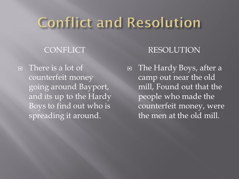 CONFLICTRESOLUTION  There is a lot of counterfeit money going around Bayport, and its up to the Hardy Boys to find out who is spreading it around.