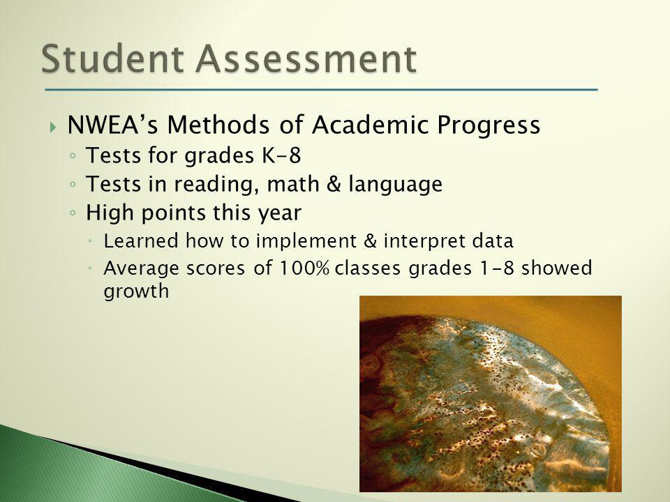  NWEA's Methods of Academic Progress ◦ Tests for grades K-8 ◦ Tests in reading, math & language ◦ High points this year  Learned how to implement & interpret data  Average scores of 100% classes grades 1-8 showed growth