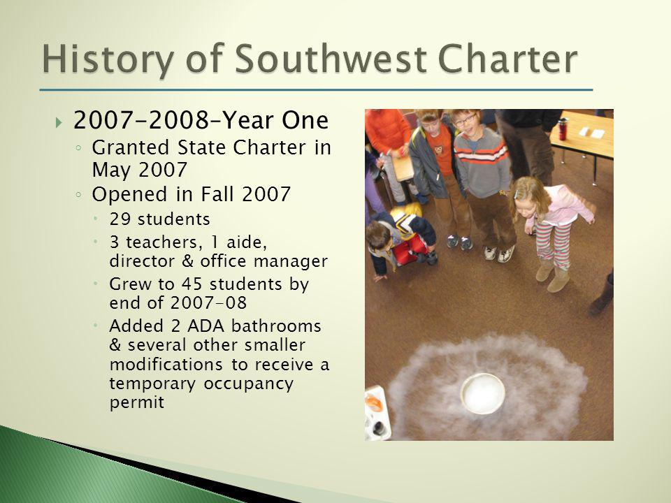  2007-2008–Year One ◦ Granted State Charter in May 2007 ◦ Opened in Fall 2007  29 students  3 teachers, 1 aide, director & office manager  Grew to 45 students by end of 2007-08  Added 2 ADA bathrooms & several other smaller modifications to receive a temporary occupancy permit
