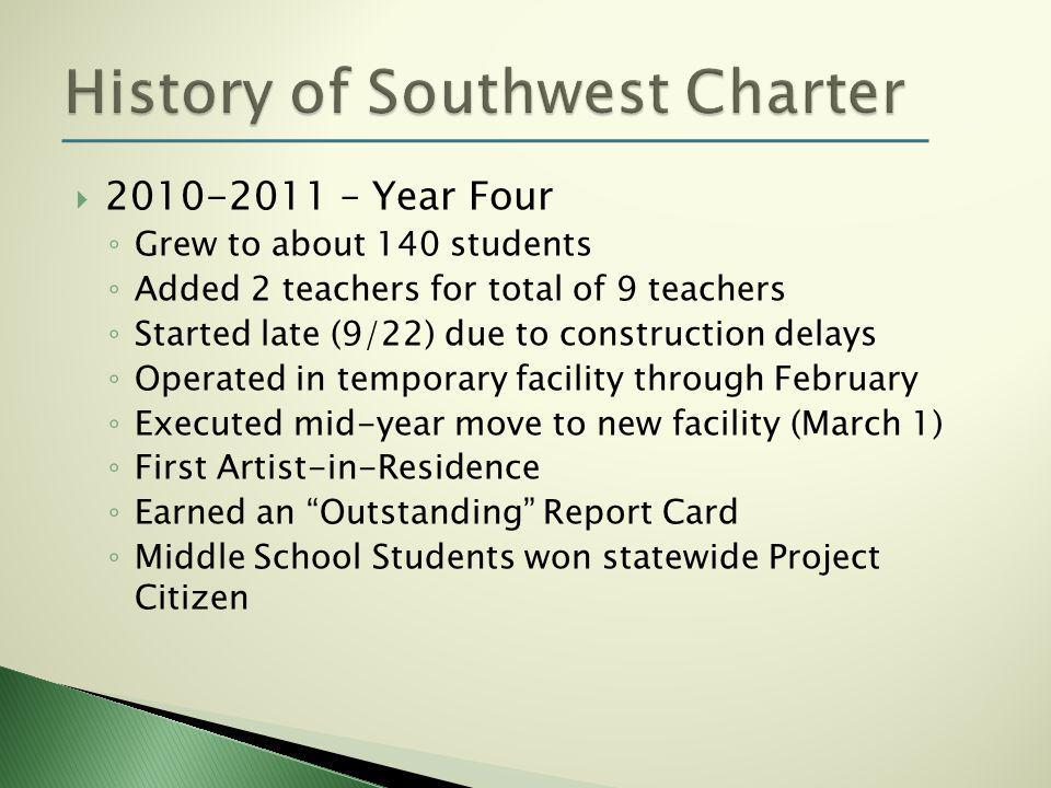  2010-2011 – Year Four ◦ Grew to about 140 students ◦ Added 2 teachers for total of 9 teachers ◦ Started late (9/22) due to construction delays ◦ Operated in temporary facility through February ◦ Executed mid-year move to new facility (March 1) ◦ First Artist-in-Residence ◦ Earned an Outstanding Report Card ◦ Middle School Students won statewide Project Citizen