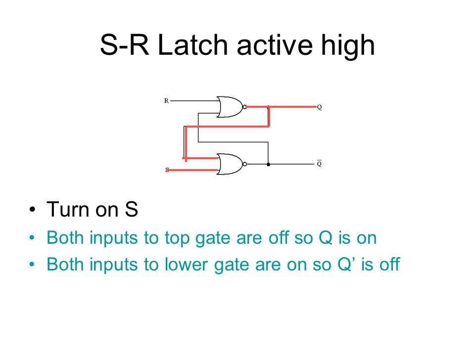 S-R Latch active high Turn on S Both inputs to top gate are off so Q is on Both inputs to lower gate are on so Q' is off