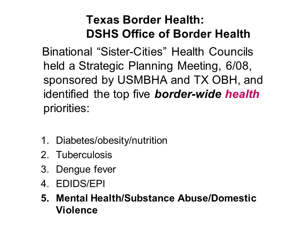 Texas Border Health: DSHS Office of Border Health Binational Sister-Cities Health Councils held a Strategic Planning Meeting, 6/08, sponsored by USMBHA and TX OBH, and identified the top five border-wide health priorities: 1.Diabetes/obesity/nutrition 2.Tuberculosis 3.Dengue fever 4.EDIDS/EPI 5.Mental Health/Substance Abuse/Domestic Violence
