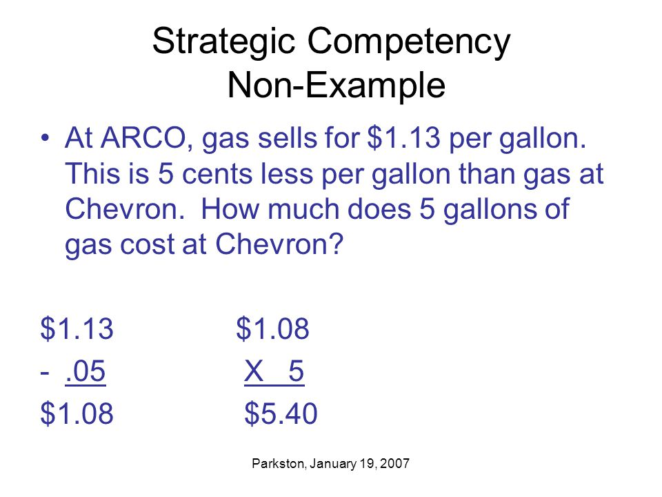 Parkston, January 19, 2007 Strategic Competency Non-Example At ARCO, gas sells for $1.13 per gallon.