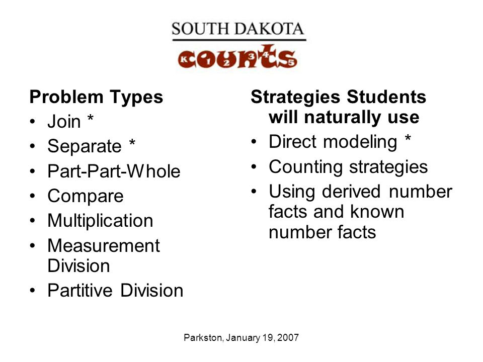 Parkston, January 19, 2007 Problem Types Join * Separate * Part-Part-Whole Compare Multiplication Measurement Division Partitive Division Strategies Students will naturally use Direct modeling * Counting strategies Using derived number facts and known number facts