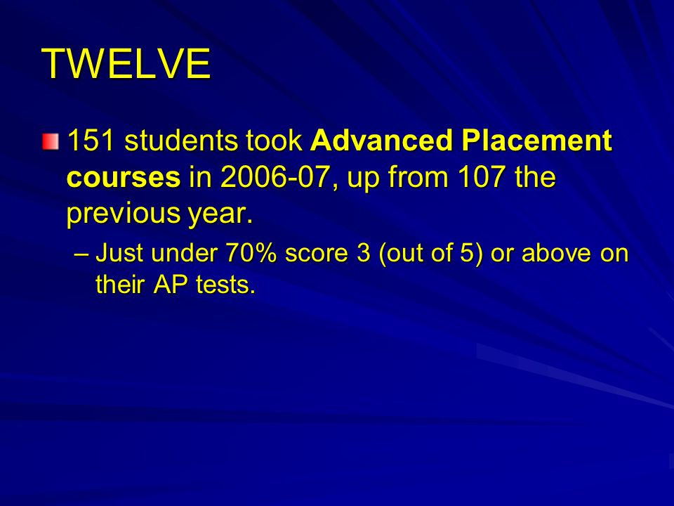 TWELVE 151 students took Advanced Placement courses in 2006-07, up from 107 the previous year.