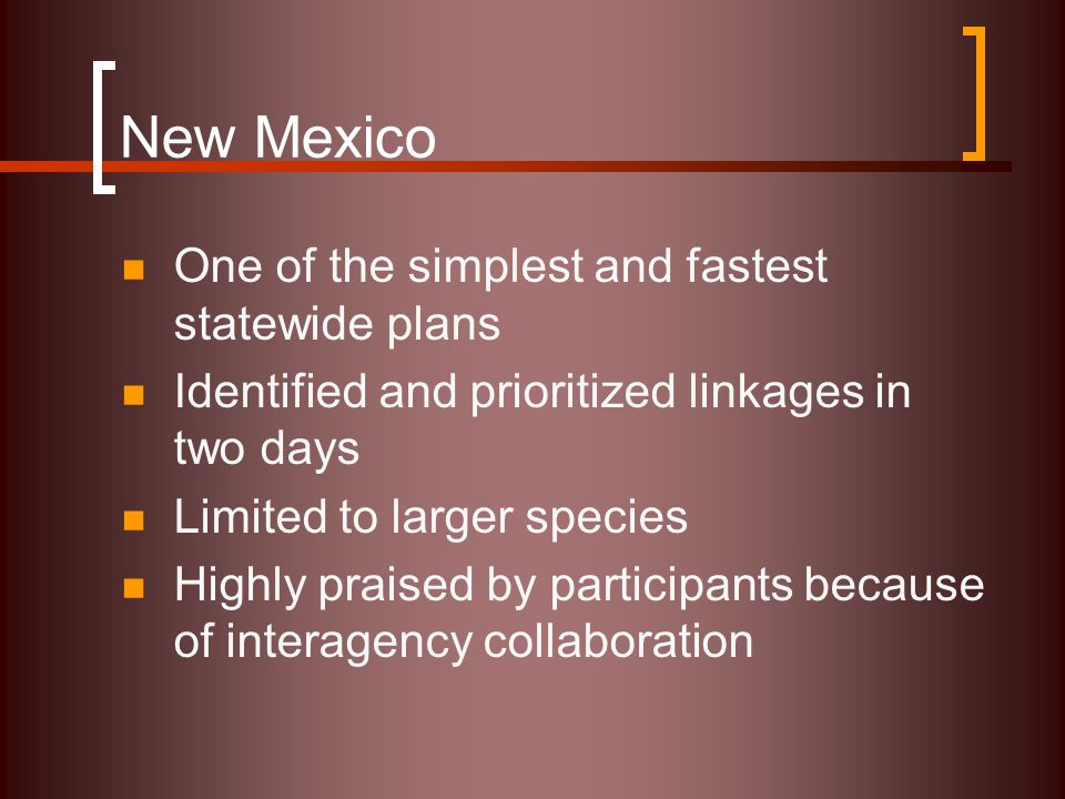 New Mexico One of the simplest and fastest statewide plans Identified and prioritized linkages in two days Limited to larger species Highly praised by participants because of interagency collaboration