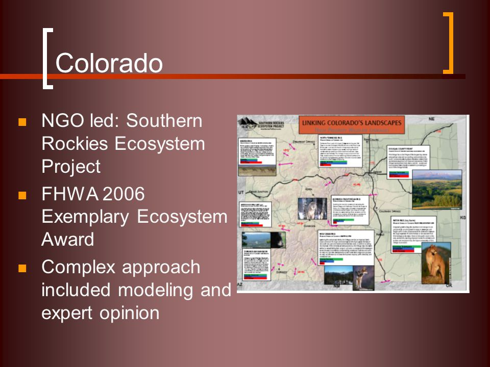 Colorado NGO led: Southern Rockies Ecosystem Project FHWA 2006 Exemplary Ecosystem Award Complex approach included modeling and expert opinion