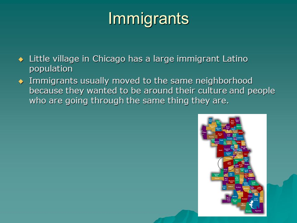 Immigrants  Little village in Chicago has a large immigrant Latino population  Immigrants usually moved to the same neighborhood because they wanted to be around their culture and people who are going through the same thing they are.