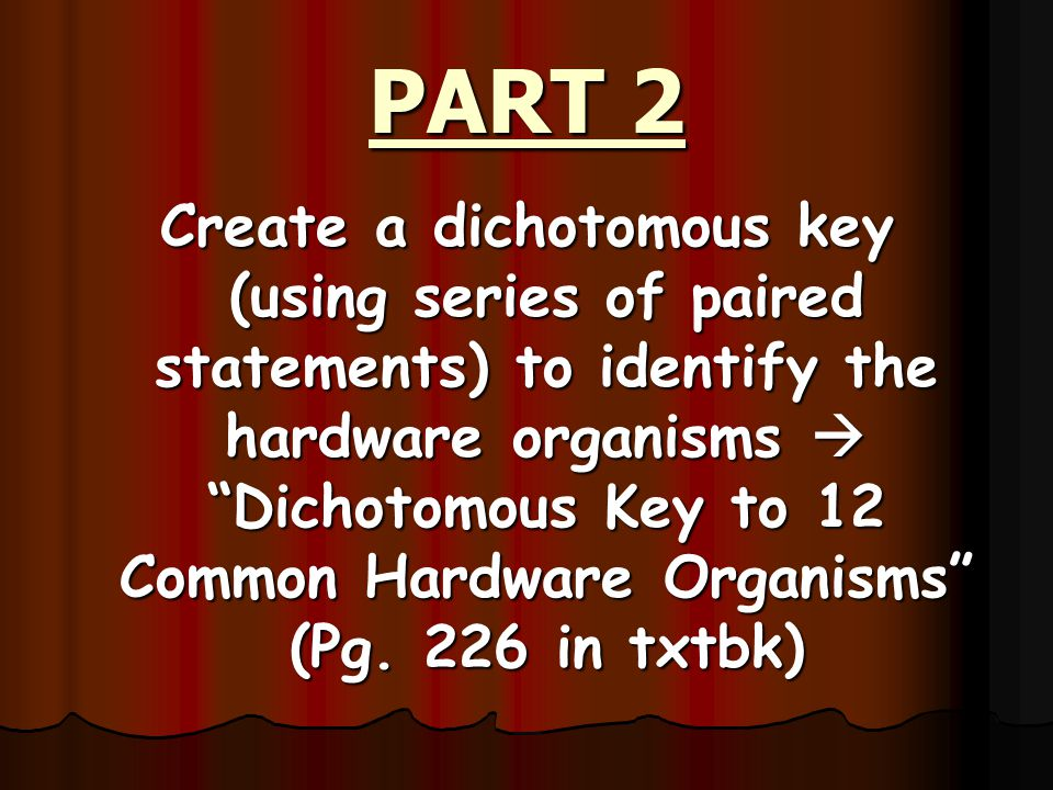 PART 1 Classify your hardware organisms into groups.