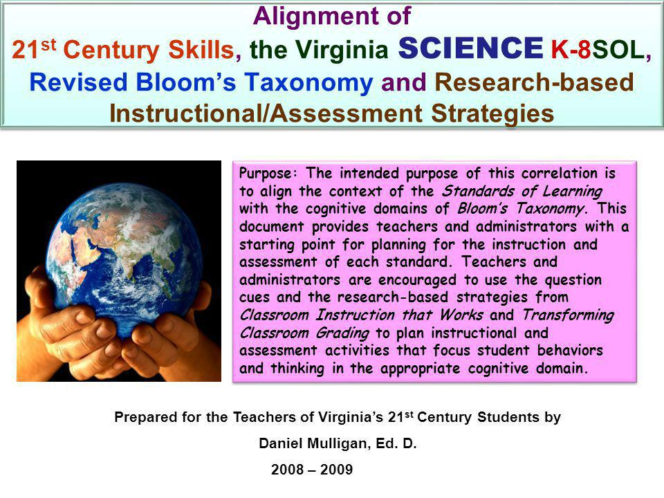 Alignment of 21 st Century Skills, the Virginia SCIENCE K-8SOL, Revised Bloom's Taxonomy and Research-based Instructional/Assessment Strategies Purpose: The intended purpose of this correlation is to align the context of the Standards of Learning with the cognitive domains of Bloom's Taxonomy.