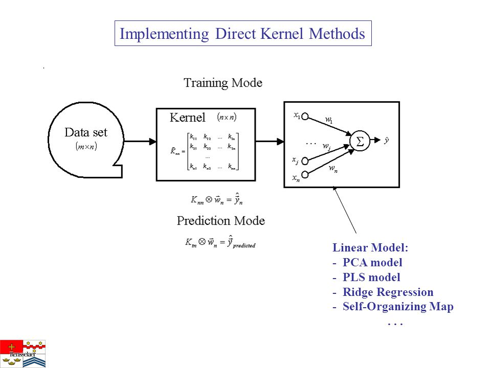 Implementing Direct Kernel Methods Linear Model: - PCA model - PLS model - Ridge Regression - Self-Organizing Map...