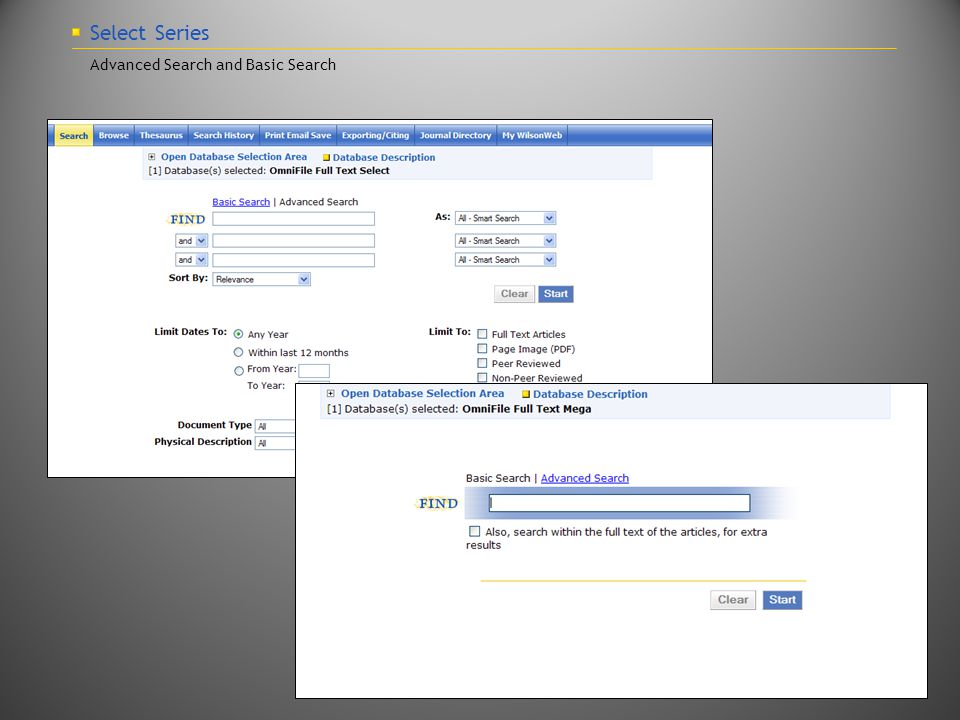Select Series Advanced Search and Basic Search
