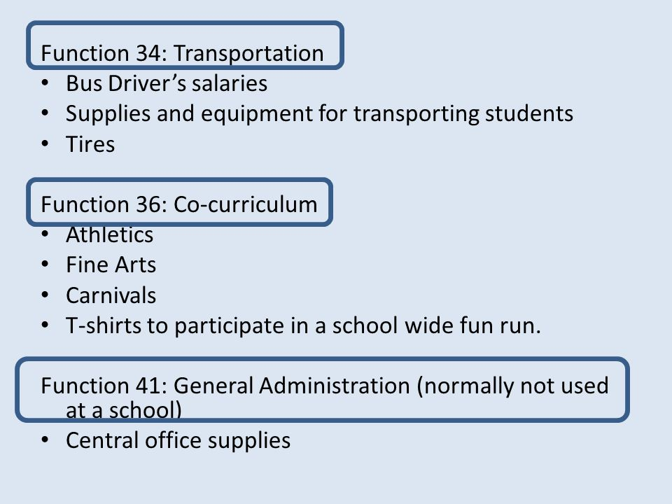 Function 34: Transportation Bus Driver's salaries Supplies and equipment for transporting students Tires Function 36: Co-curriculum Athletics Fine Arts Carnivals T-shirts to participate in a school wide fun run.