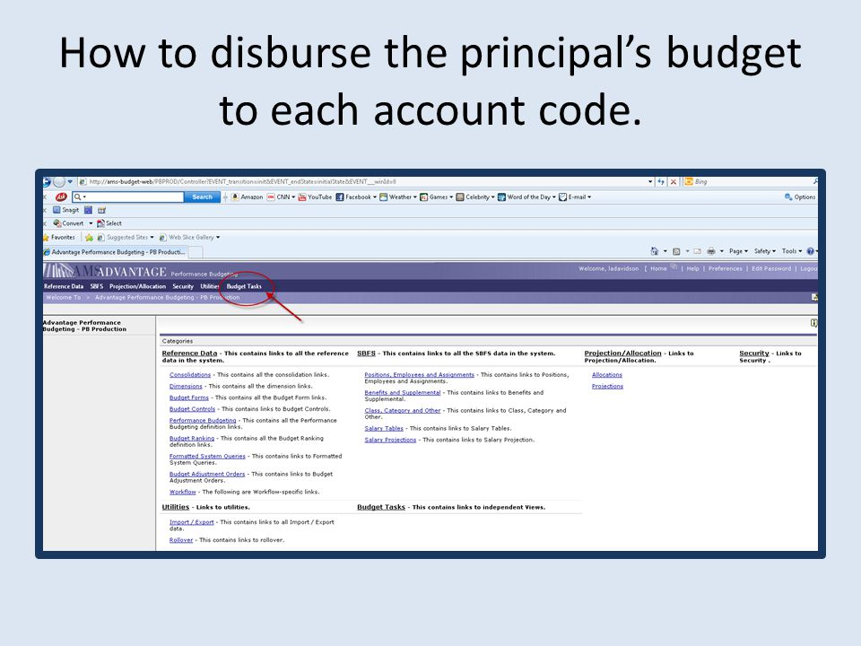 How to disburse the principal's budget to each account code.