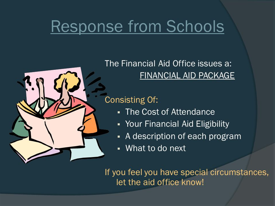 Response from Schools The Financial Aid Office issues a: FINANCIAL AID PACKAGE Consisting Of:  The Cost of Attendance  Your Financial Aid Eligibility  A description of each program  What to do next If you feel you have special circumstances, let the aid office know!