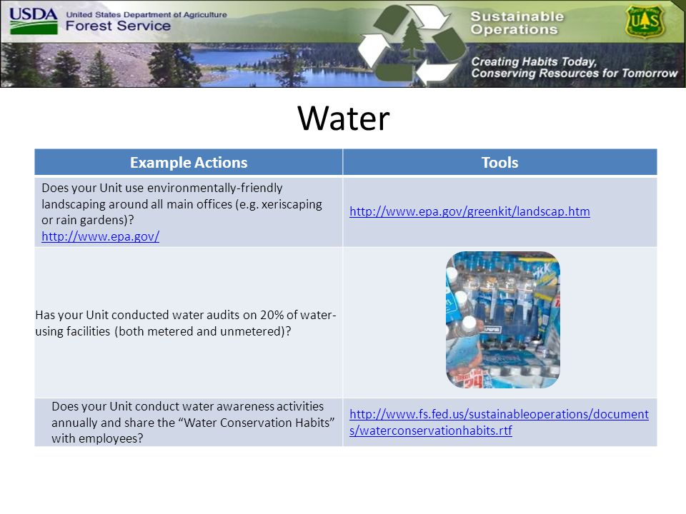 Water Example ActionsTools Does your Unit use environmentally-friendly landscaping around all main offices (e.g.