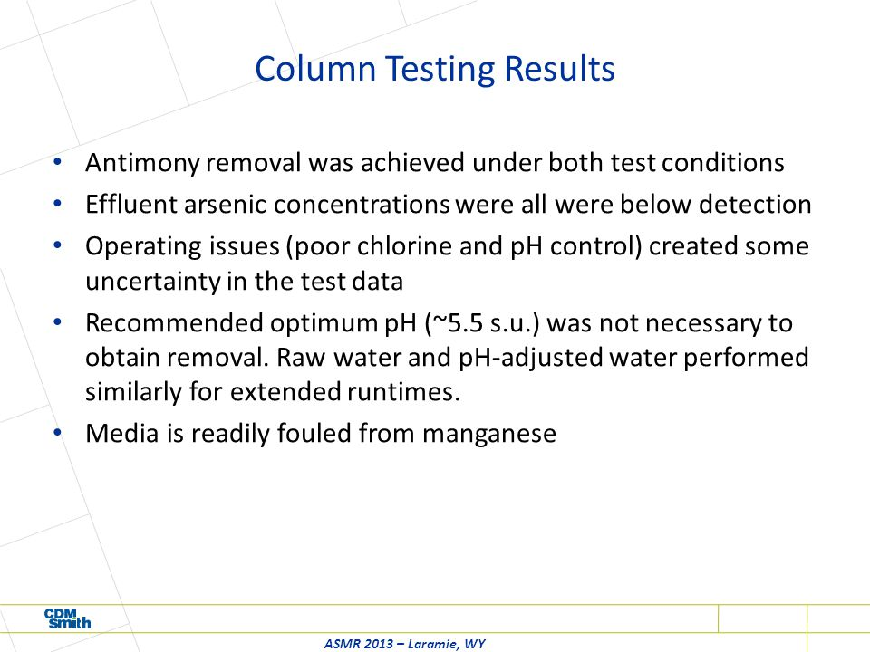 Column Testing Results Antimony removal was achieved under both test conditions Effluent arsenic concentrations were all were below detection Operating issues (poor chlorine and pH control) created some uncertainty in the test data Recommended optimum pH (~5.5 s.u.) was not necessary to obtain removal.