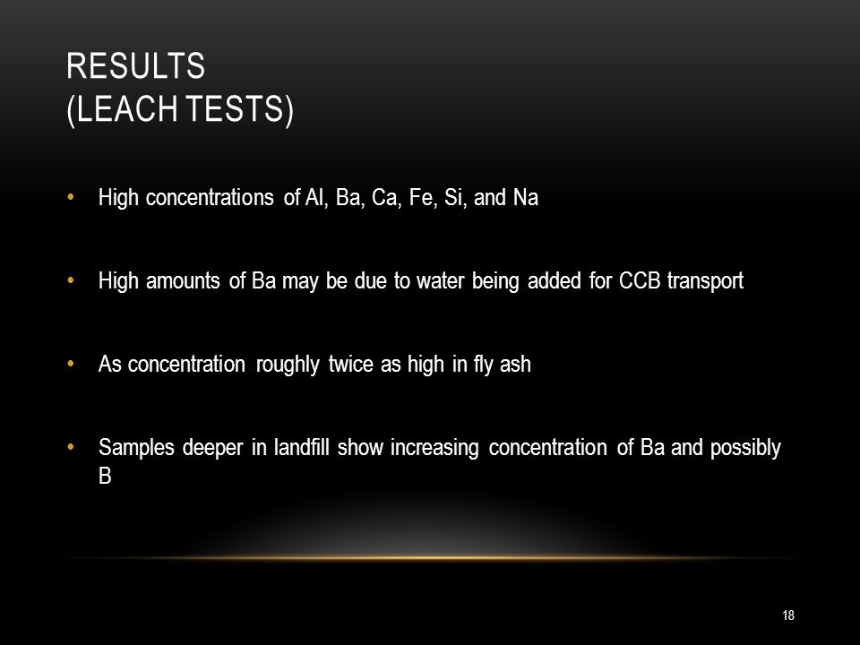 RESULTS (LEACH TESTS) 18 High concentrations of Al, Ba, Ca, Fe, Si, and Na High amounts of Ba may be due to water being added for CCB transport As concentration roughly twice as high in fly ash Samples deeper in landfill show increasing concentration of Ba and possibly B