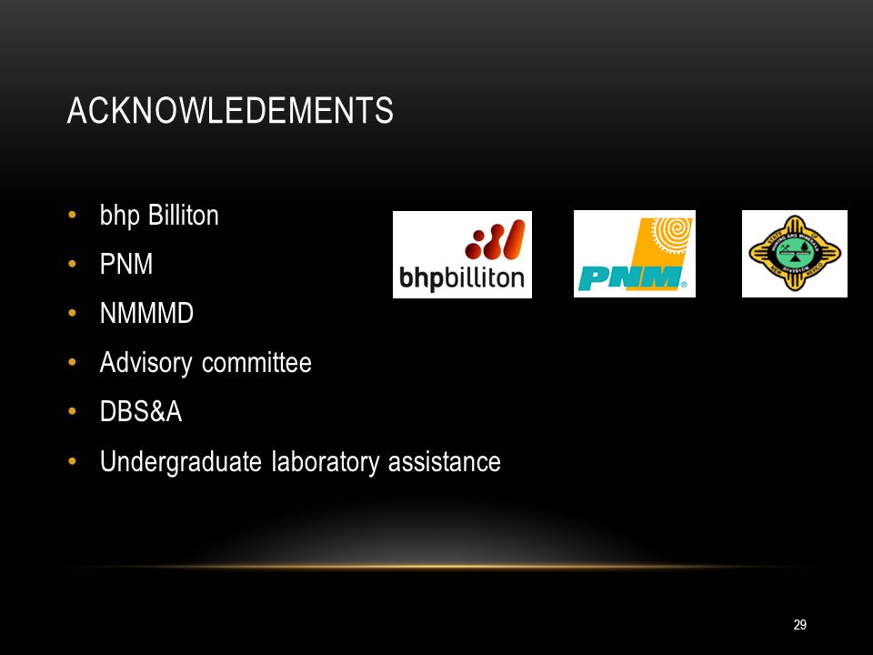 ACKNOWLEDEMENTS bhp Billiton PNM NMMMD Advisory committee DBS&A Undergraduate laboratory assistance 29