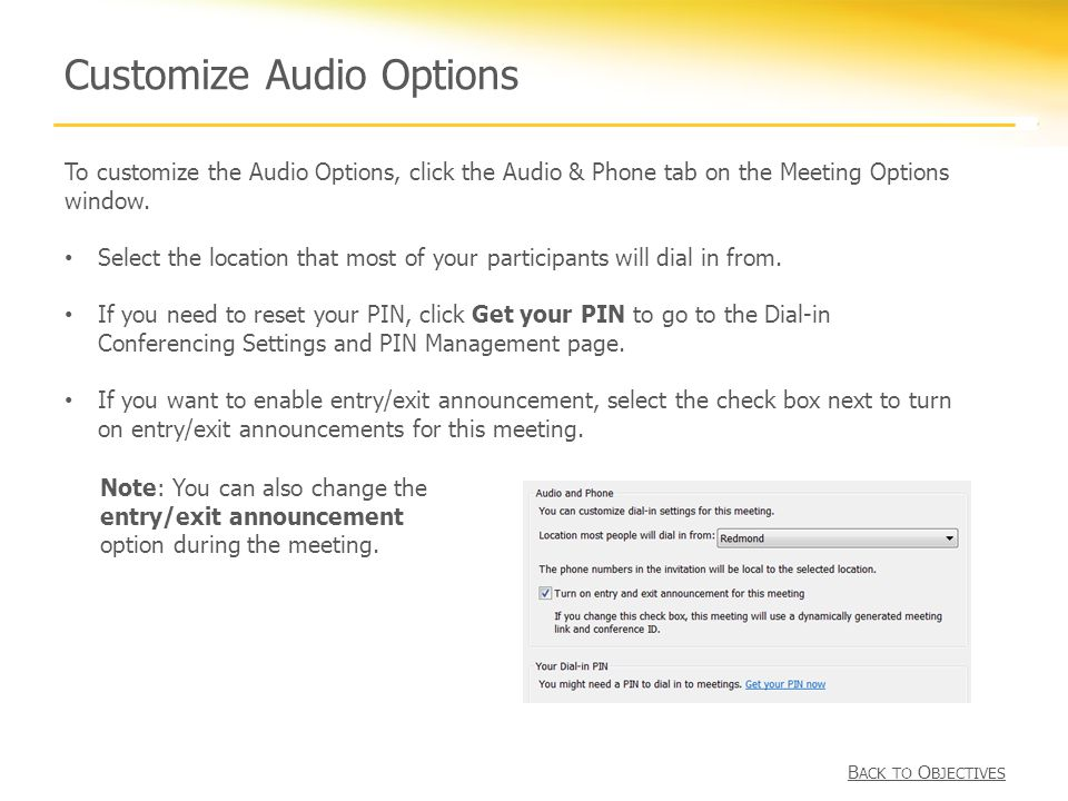 Customize Audio Options To customize the Audio Options, click the Audio & Phone tab on the Meeting Options window.
