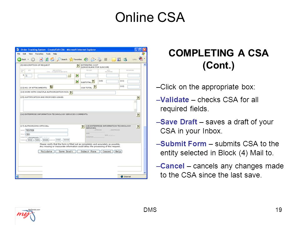 DMS19 Online CSA COMPLETING A CSA (Cont.) –Click on the appropriate box: –Validate – checks CSA for all required fields.