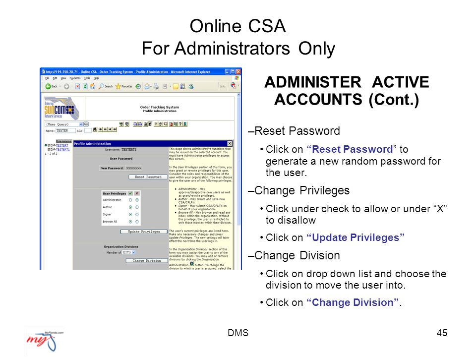 DMS45 Online CSA For Administrators Only ADMINISTER ACTIVE ACCOUNTS (Cont.) –Reset Password Click on Reset Password to generate a new random password for the user.