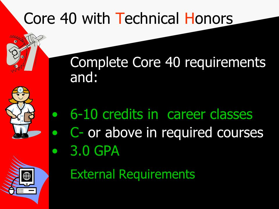 Core 40 with Academic Honors Meet ALL Core 40 requirements 2 additional math credits - 8 cr.