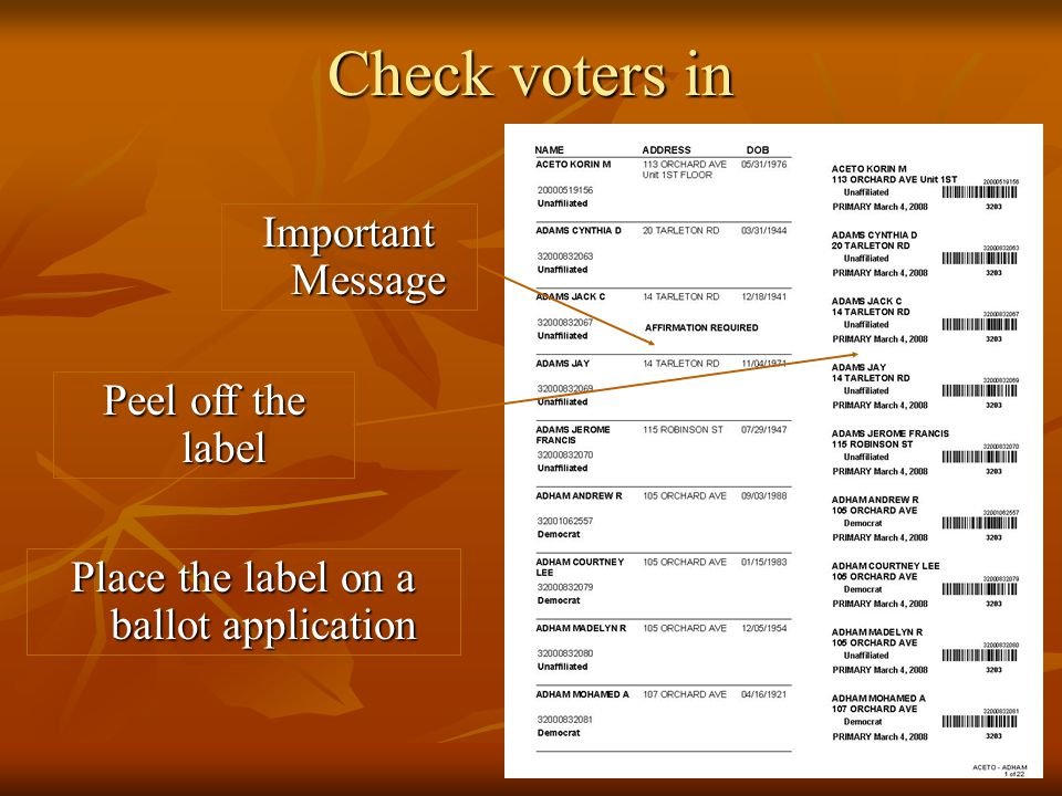 Check voters in Important Message Peel off the label Place the label on a ballot application