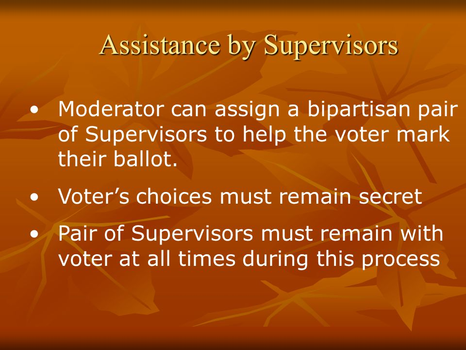 Assistance by Supervisors Moderator can assign a bipartisan pair of Supervisors to help the voter mark their ballot.