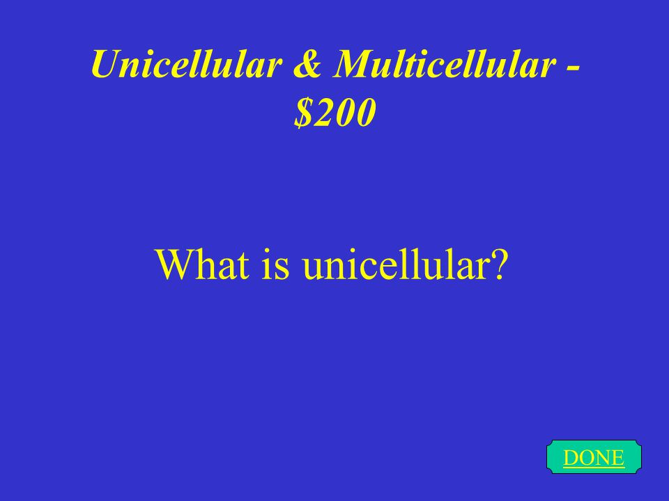Unicellular & Multicellular - $100 DONE What is multicellular