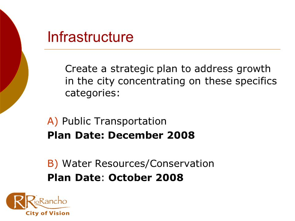 Infrastructure Create a strategic plan to address growth in the city concentrating on these specifics categories: A) Public Transportation Plan Date: December 2008 B) Water Resources/Conservation Plan Date: October 2008