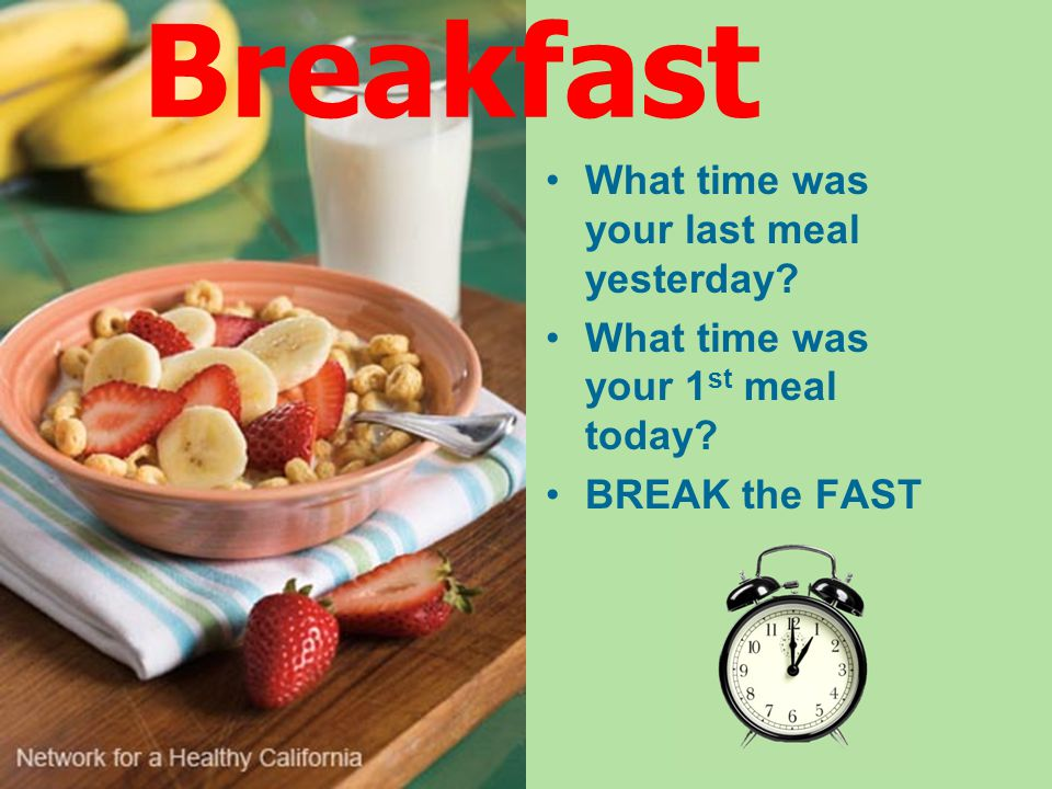 Breakfast What time was your last meal yesterday. What time was your 1 st meal today.
