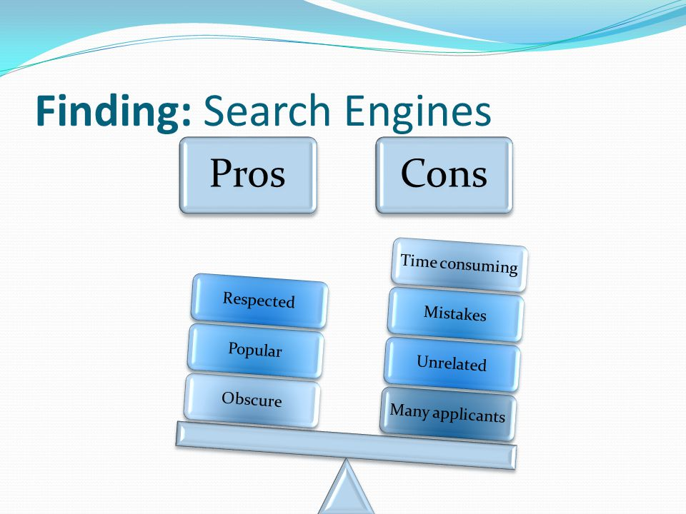 Finding: Search Engines ProsCons Many applicantsUnrelatedMistakesTime consumingObscurePopularRespected