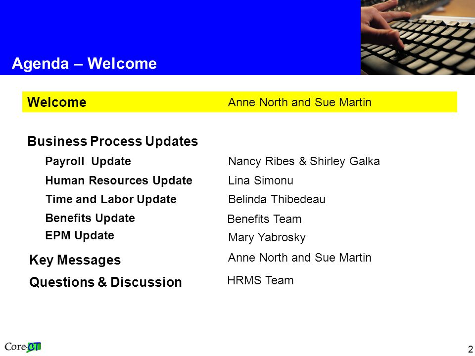 2 Agenda – Welcome Anne North and Sue Martin Key Messages Benefits Team Benefits Update EPM Update HRMS Team Questions & Discussion Belinda Thibedeau Time and Labor Update Lina Simonu Human Resources Update Nancy Ribes & Shirley Galka Payroll Update Business Process Updates Anne North and Sue Martin Welcome Mary Yabrosky