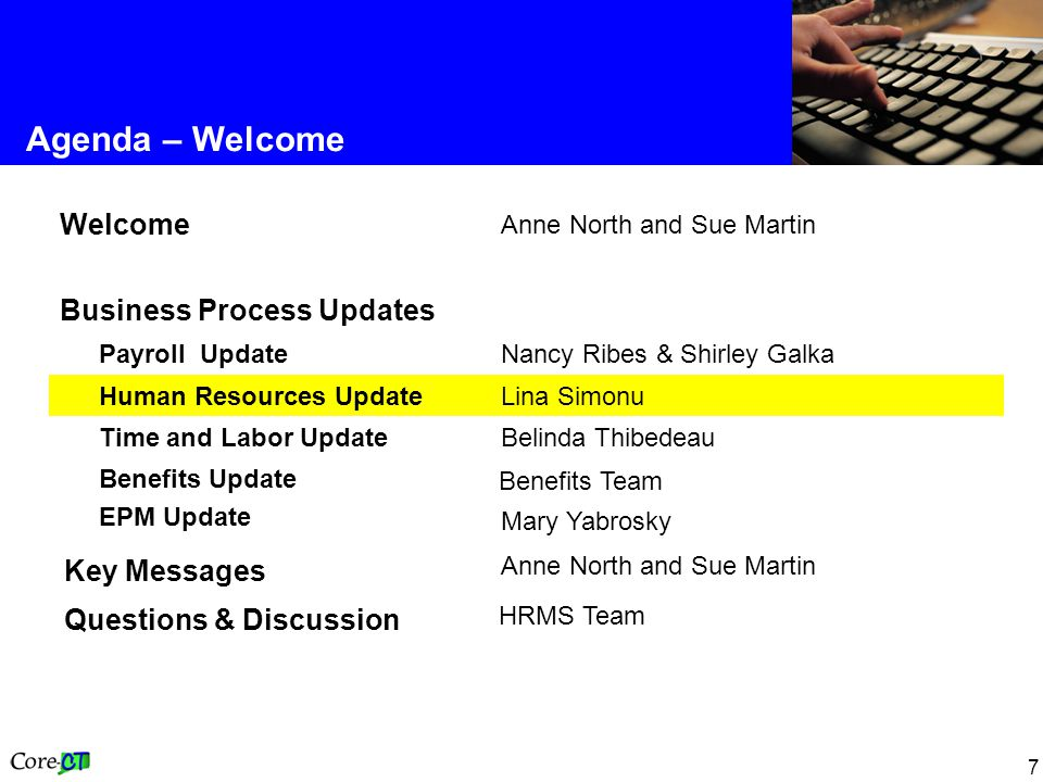 7 Agenda – Welcome Anne North and Sue Martin Key Messages Benefits Team Benefits Update EPM Update HRMS Team Questions & Discussion Belinda Thibedeau Time and Labor Update Lina Simonu Human Resources Update Nancy Ribes & Shirley Galka Payroll Update Business Process Updates Anne North and Sue Martin Welcome Mary Yabrosky
