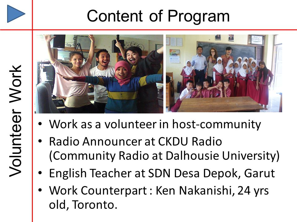 Content of Program Volunteer Work Work as a volunteer in host-community Radio Announcer at CKDU Radio (Community Radio at Dalhousie University) English Teacher at SDN Desa Depok, Garut Work Counterpart : Ken Nakanishi, 24 yrs old, Toronto.
