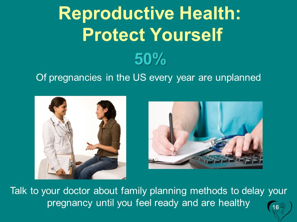 Reproductive Health: Protect Yourself Of pregnancies in the US every year are unplanned Talk to your doctor about family planning methods to delay your pregnancy until you feel ready and are healthy 50% 16