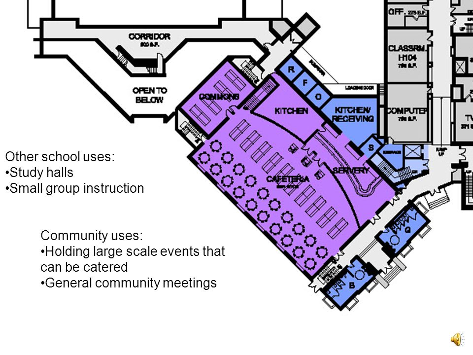 Commons: Meeting space for student clubs during lunch hours Small group instruction space during instructional time