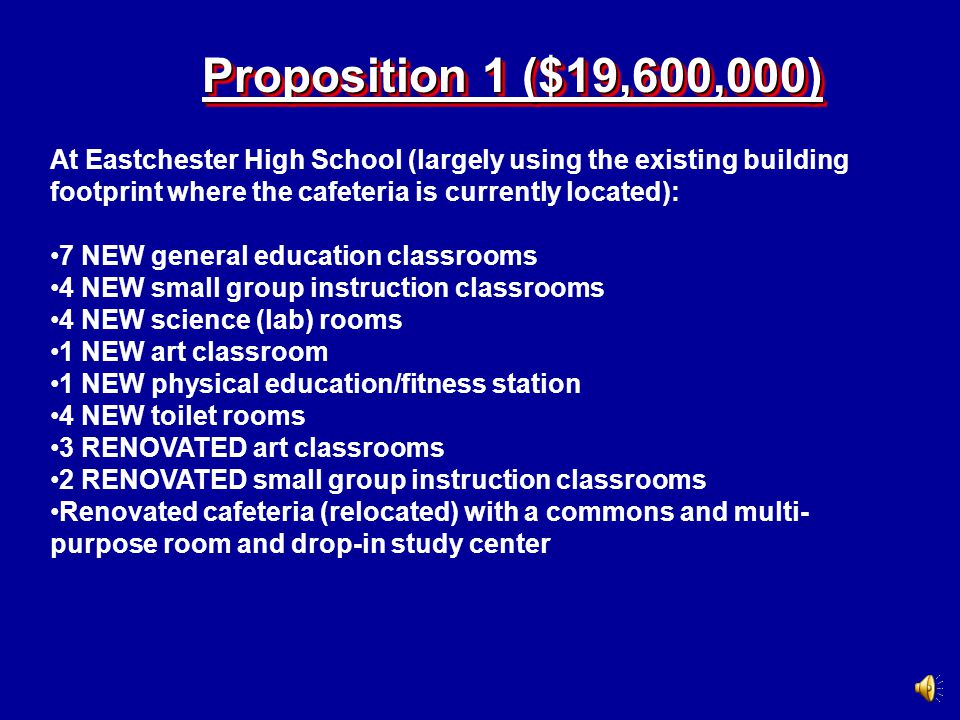 HighlightsHighlights There will be a bond referendum, comprised of 2 propositions, put before voters in the Eastchester School District on March 19, 2008.