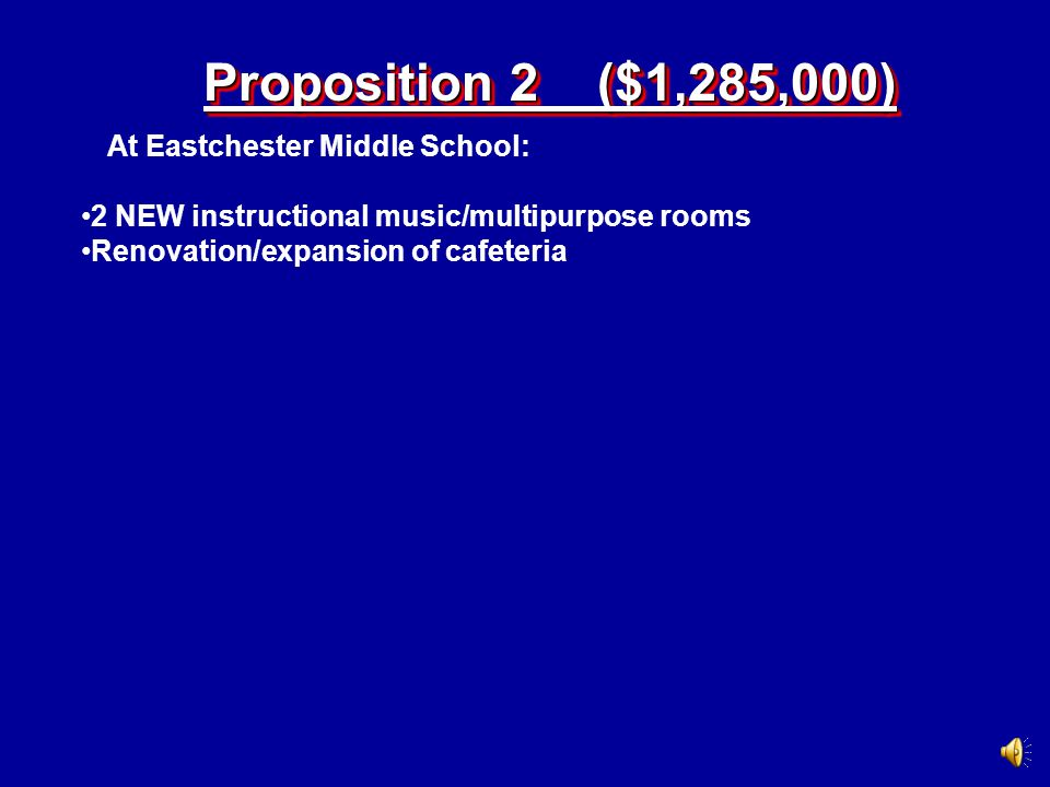 4 NEW general education classrooms 1 NEW technology classroom 1 NEW science/lab 1 NEW elevator Proposition 1 ($19,600,000) At Eastchester Middle School: